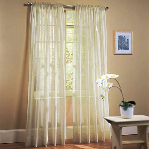 """Awad Home Fashion 2 Panels Solid Beige Sheer Voile Window Curtain Treatment Drapes 55"""" X 84"""""""