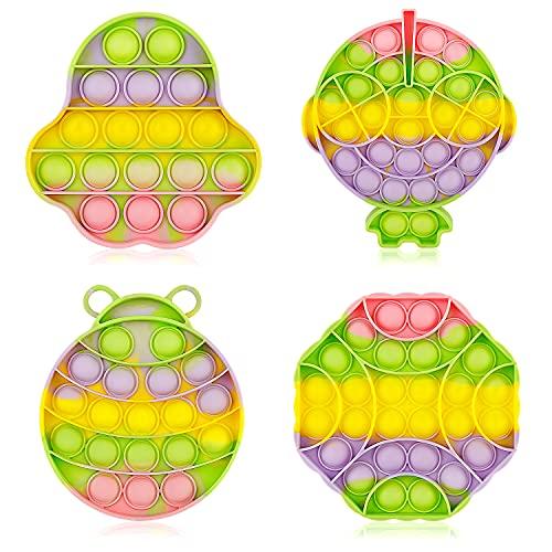 BITIWEND 4 Piezas Pop it Fidget Toy Set Push Pop Bubble Squeeze Juguetes para niños y...