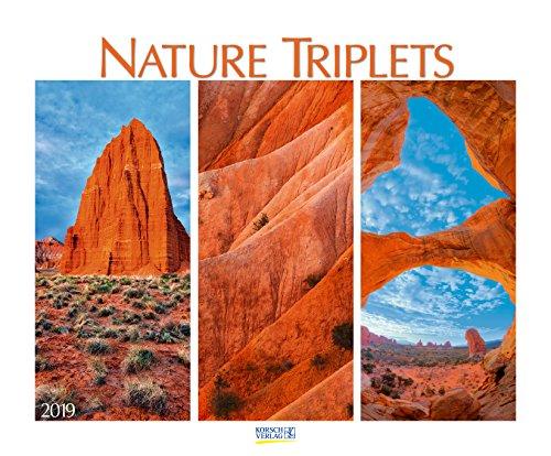 Nature Triplets 209119 2019: Wandkalender groß. Fotokunst-Kalender mit ausgewählten Bildreihen aus der Natur. Großformat: 55 x 45,5 cm. Foliendeckblatt.