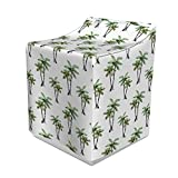 Ambesonne Palm Tree Washer Cover, Botanical Watercolor Artwork of Hawaiian Aloha Forest Palm Trees in Pairs, Washroom Decor with Dust Protection, 29' x 28' x 40', White Green