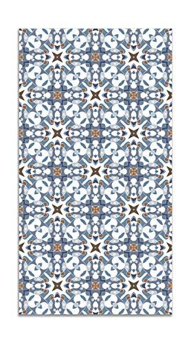 Panorama Alfombra Vinílica Azulejo Hidráulico Tipo Oriental Azul 80x200 cm - Alfombra Cocina Vinilo - Alfombra Salón Antideslizante e Ignífuga - Alfombras Grandes - Alfombras PVC
