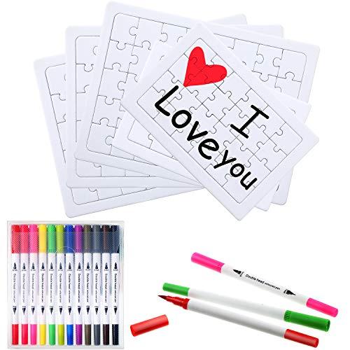 Outus 5 Blatt Leeres Puzzle Brauch Weiß DIY Puzzle mit 12 Stück Doppelt Spitze Aquarell Pinselstifte für Kinder DIY Malerei Handwerk Projekte