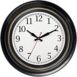 Bernhard Products Large Wall Clock 18 Quality Quartz Silent Non Ticking, Battery Operated for Home/Living Room/Over Fireplace, Beautiful Decorative Timeless Stylish Dark Brown Clock