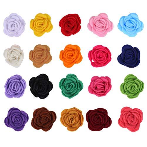 Exceart 20 Stück Filz Blumen Rosen Form Filz Ornament für DIY-Projekte Kleidung Dekor Haarspangen Stirnbänder (Gemischte Farbe)
