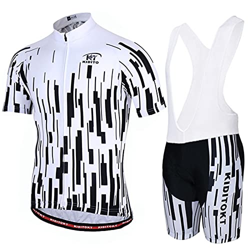 AdirMi Completo Ciclismo Uomini, Set Abbigliamento Antiscivolo Elastico Ciclismo Traspirante Maglia Manica Corta con Zip + Salopette 3D Imbottito Completo Bici per Ciclista Estate,E,XS