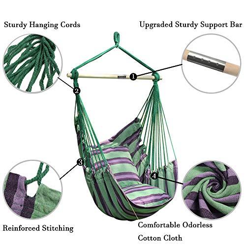 ANPIカンバスハンモックチェアロープチェア室内戸外ガーデン耐荷重量120kg2クッション付き5色帆布屋外家具椅子型ハンモック