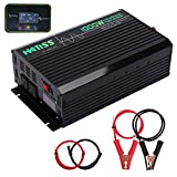 HATISS 1000W Pure Sine Wave Power Inverter, Peak Power 2000W, 12V DC to 110V AC Car Inverter with Dual AC Outlets 5V 2.1A USB and Wireless Digital LCD Display for Car,Electrical Appliances