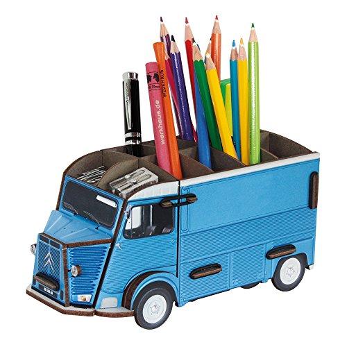エコ廃材を利用した、ドイツのデザインブランド♪ プレゼントに最適♪おしゃれな文房具♪ シトロエン Hトラック ペン立て♪ 青色 フォルクスワーゲン ビートル VW おもちゃ収納 トミカ収納