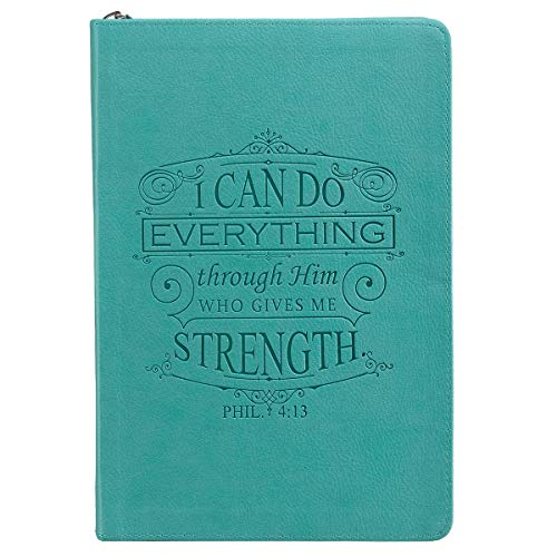 I Can Do Everything Philippians 4:13 Bible Verse Teal Faux Leather Journal Inspirational Zippered Notebook w/Ribbon and Lined Pages, 6.5 x 8.75