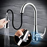 Touchless Kitchen Sink Faucets, Kitchen Faucets with Pull Down Sprayer, Motion Sense Wave Faucet High Arc Single-Handle Chrome 1or 3 Hole Deck Mount 2 Modes, Easy to Install, Spot Resist