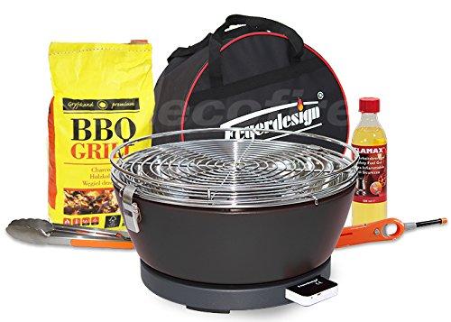 Feuerdesign Rauchfreier Holzkohle Tischgrill Vesuvio v Grau, im Super Pack mit viel Grill-Zubehör