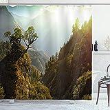 ABAKUHAUS Landschaft Duschvorhang, Nepal Wald Majestic, Seife Bakterie Schimmel & Wasser Resistent inkl. 12 Haken & Farbfest, 175 x 200 cm, Grüne hellgelbe