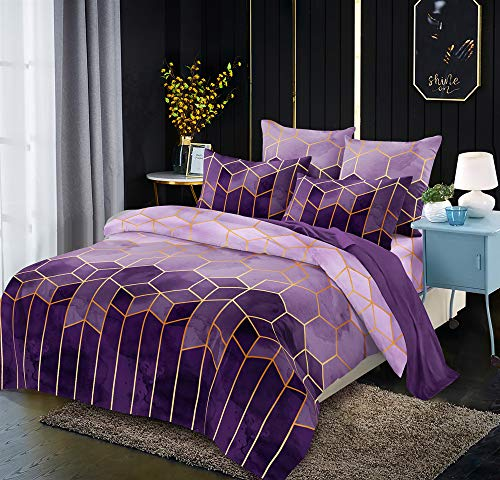 ZXGQF Duvet Covers, Geometric Printed Duvet Cover Set, Brushed Microfibre Nordic Soft Quilt Covers, Hotel Quality Quilt Covers with Pillowcases and Easy Care (A,260 * 230cm Quilt cover+2pillowcase)