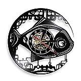 JKLMZYT Vintage Steampunk Robot Fish Reloj de Pared con Disco de Vinilo de diseño...