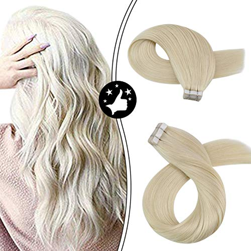Moresoo 20 Inch Tape in Remy Human Hair Extensions Seamless Skin Weft 40 Pieces 100 Grams #60 Platinum Blonde Adhesive Hair Extensions Tape on Hair Extensions