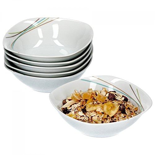 Van Well Aliha Lot de 6 bols à céréales, bols à soupe, petits bols, Ø 14,3 cm, 300 ml, porcelaine de marque élégante