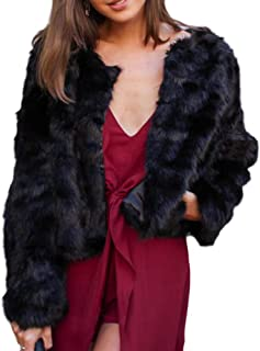 GAMISOTE Womens Faux Fur Jacket Open Front Shaggy Long Sleeve, Black, Size Large