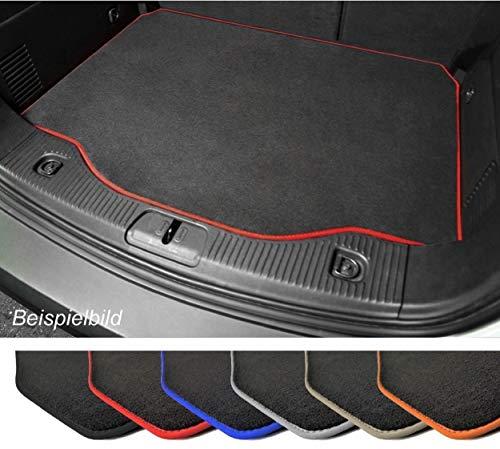 Premium Kofferraummatte für VW Polo 5 6R Velours Anthrazit Umrandung Rot Kofferraumschutz