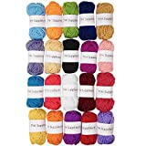 TYH Supplies 20-Pack 22 Yard Acrylic Yarn Assorted Colors Skeins - Perfect for Mini Knitting and Crochet Project