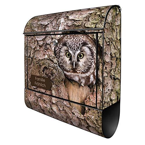 Banjado Design Briefkasten personalisiert mit Motiv Eule | Stahl pulverbeschichtet mit Zeitungsrolle | Größe 39x47x14cm, 2 Schlüssel, A4 Einwurf, inkl. Montagematerial