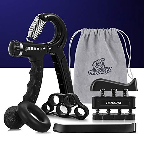 Peradix Handtrainer Fingertrainer 6er Set Verstellbarer Unterarmtrainer Finger Trainingsgerät | Trainingsring| Stressabbau-Griffkugel | Fingerdehner | Griffbälle