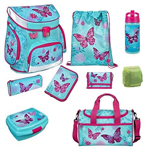 Familando Scooli Butterfly Schulranzen-Set 9tlg. Campus FIT mit Sporttasche Schmetterling und Blumen türkis BUTE8253 Mädchen Schultaschen-Set