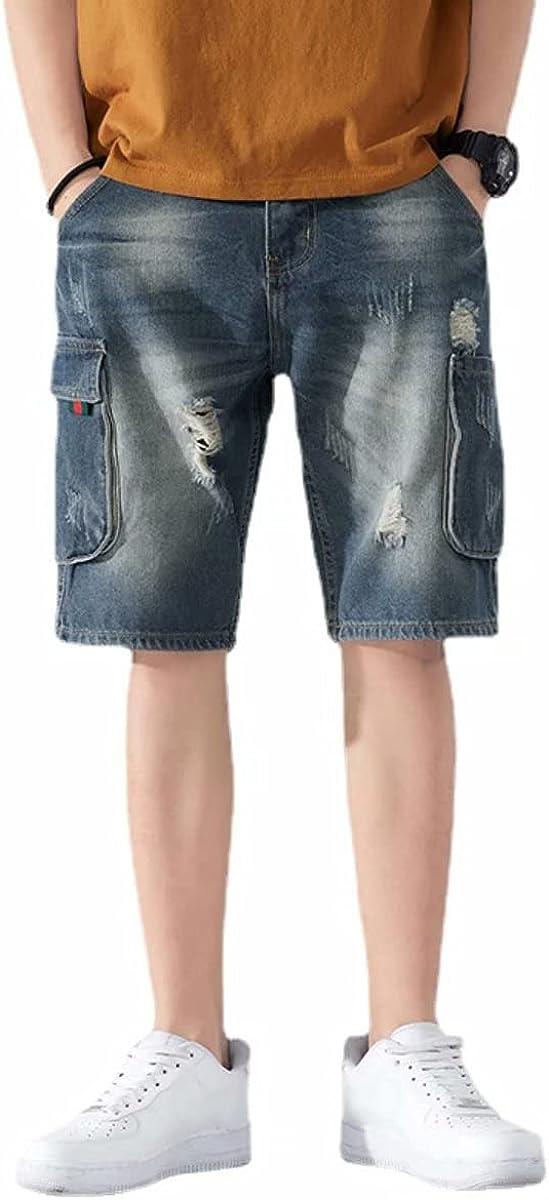 Alilyol Ripped Holes Straight Leg Bermuda Denim Shorts for Men Summer Street Hip Hop Jeans Cargo Shorts