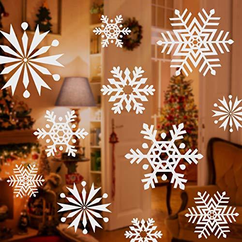 SALCAR 100 St. Schneeflocken Fensterdekoration, abnehmbare Schneeflocken, statischer Kleber, Weihnachtsdekoration für Fenster, Tür, Schaufenster, Vitrinen, Glasfronten