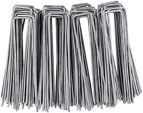 spaire 200 Stück Erdanker verzinkte Uförmige Bodenanker für Gartenvliese,Unkrautvlies und Gartenarbeit - Grass Tuchnagel, Rasenhalter, Dreidimensionaler Netzwerkstecker-150 * 25mm - Ø3mm