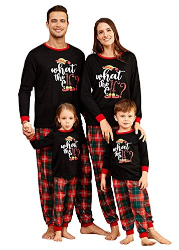 IFFEI Matching Family Pajamas Sets Holiday at Home PJ's with Letter Printed Long Sleeve Tee and Plaid Pants Women: L