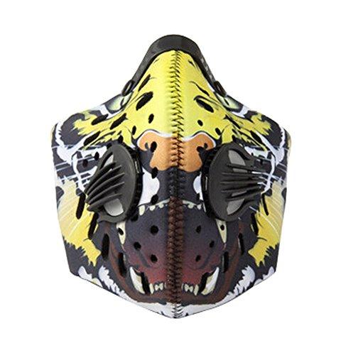 Extérieur de cyclisme coupe-vent anti-poussière Masque Visage Charbon actif Filtre Masques Tigre
