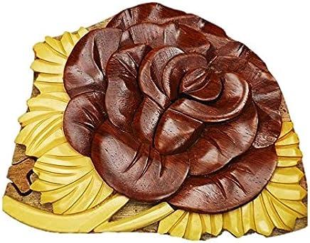 754cab497 Coastal Wood Factory Handmade Art Intarsia Wooden Puzzle Box - Rose(117B)