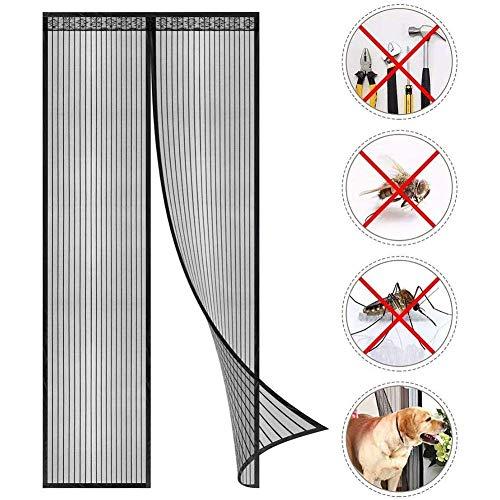 REGAL-HPQ Magnetische Fliegengitter Tür Balkontür Wird automatisch Ultra Seal Halten Insekten Out Mosquito Tür-Ineinander greifen-Vorhang, Schwarz,170x220cm(66x86inch)