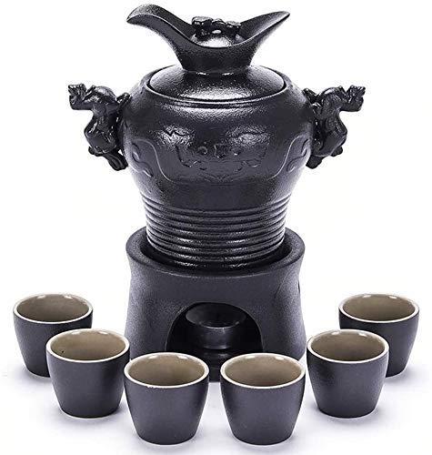 Ensemble de tasses à saké de style japonais en porcelaine haut de gamme Ensemble de 8 pièces à saké, ensemble de verres à vin en céramique noire en forme de dragon chinois avec bouilloire chauffante