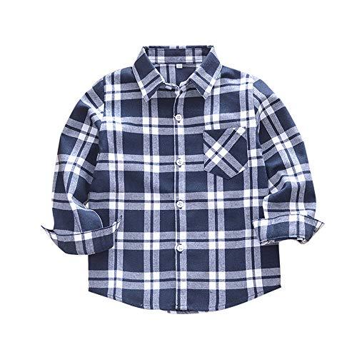 feiXIANG Kinder Hemd Jungen Kariertes Bluse Kleidung Baumwolle Kleinkind Tops Student Freizeitkleidung(Schwarz,100)