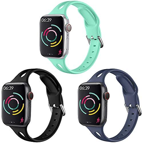 Vecann Correa Compatible con Apple Watch Correa 38 mm 40 mm , Correa De Repuesto Deportiva Delgada De Silicona Suave con Cierre Clásico Compatible con iWatch Se Series 6 5 4 3 2 1