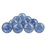 Ajuny Juego de 10 pomos de cerámica, color azul y blanco para aparador, armario, armario de baño, cocina, hecho a mano
