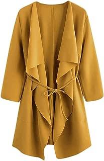 Waterfall Collar Cardigan Women Open Front Wrap Draped Jacket Pockets Outwear