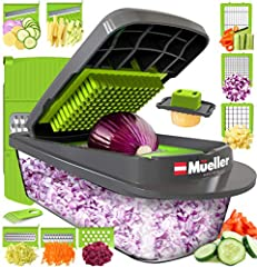✅ NEW UPDATED VERSION OF YOUR FAVORITE KITCHEN GADGET – Chop, Dice, Slice or Grate with our newest Multi Chopper and Slicer by Mueller! This functional kitchen gadget will alleviate your prep time to just a couple of minutes. Manufactured with top-no...