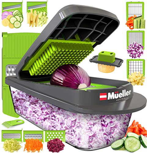 Mueller Heavy Duty Vegetable Chopper Dicer Mincer Mandoline Slicer - Food Chopper, Vegetable Slicer -Salad Chopper Veggie Chopper Vegetable Cutter Food Slicer 8 Blades