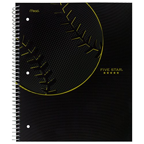 """Five Star Spiral Notebook, 1 Subject, College Ruled Paper, 100 Sheets, 11"""" x 8-1/2"""", Sports, Baseball (08665CM8)"""