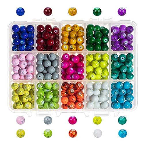 PandaHall 450pcs 8mm Perline di Vetro Drawbench, 15 Perle di Vetro Tondo in Vetro Murano per La Creazione di Gioielli con Bracciale