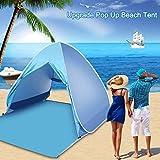 Pulnda Cremallera Tienda de Playa Desplegable Instantánea Familiar y Portátil Resistente al Sol Ultravioleta para 2 o 3 Personas - Con FPS 50+ para Protección Solar UV