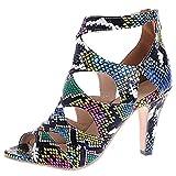 RAZAMAZA Mujer Moda Mini Tacón Botines Cremallera Peep Toe Vestido Sandalias Ahuecar Gladiator Zapatos Huase Talla 38 Asiática