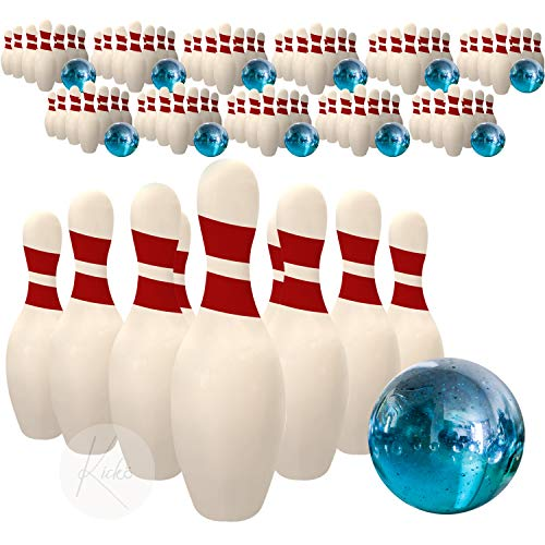 Kidsco Miniature Bowling Game Set -12 Pack Deluxe - for Kids, Playing, Party, Fun, Boys, Girls, Bowlers Etc