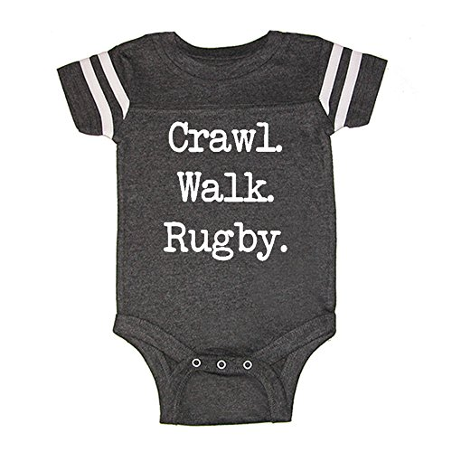 LOL Baby! Crawl Walk Rugby Baby Football Jersey Bodysuit (Vintage Smoke, 12 Months)
