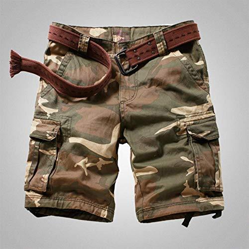 lxylllzs Hommes Cargo Ete Outdoor Multipoches,Short d'outillage Droit pour Homme, Pantalon Court d'extérieur à Poches multiples-33_ 迷彩 2,Homme Cargo Shorts Droit Loisir,