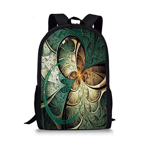 AOOEDM Backpack Mochila Escolar con Estilo Fractal, Arte de computadora con Motivo de Flores surrealistas, Concepto Creativo Imaginario de ensueño para niños, 11 'L x 5' W x 17 'H