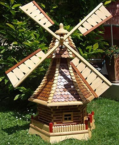 BTV Batovi Windmühle, mit Holzschindel - Dach,Windmühlen, 1,2 m groß Hellbraun braun hell + Natur mit/ohne Solarbeleuchtung HOLZSCHINDEL aus Massivholz für Garten und Terrasse
