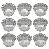 Besto nzon 50unidades desechables Bandejas aluminio molde molde–Ramequín BBQ Sartén Plato para tartas Barbacoa Hornear, Quiche Party 120ml (sin tapa)